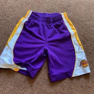 Small 6/7  lakers shorts
